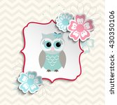 blue and gray cute owl sitting... | Shutterstock .eps vector #430350106