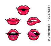 Female Lips Set. Mouth With A...
