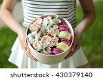 Flower Box In Girl Hands.