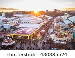 MUNICH, GERMANY - OCTOBER 4: View over the Oktoberfest in Munich, Germany on October 4, 2015. The Oktoberfest is the biggest beer festival of the world - stock photo