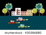 city landscape. print with cars ... | Shutterstock .eps vector #430386880