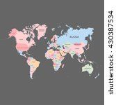 world map with the names of the ... | Shutterstock .eps vector #430387534