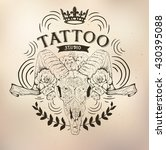 tattoo old school studio skull... | Shutterstock .eps vector #430395088