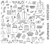 hand drawn doodle laundry set... | Shutterstock .eps vector #430425160