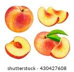 set of fresh ripe peach fruits... | Shutterstock . vector #430427608