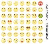 yellow emoji big emoticon set.... | Shutterstock .eps vector #430428490