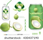 packaging with green coconut... | Shutterstock .eps vector #430437190