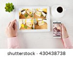 male hands with tablet and... | Shutterstock . vector #430438738
