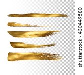 golden paint brush stroke set.... | Shutterstock .eps vector #430449580