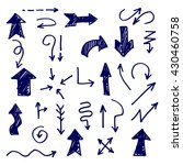 vector hand drawn blue arrows... | Shutterstock .eps vector #430460758