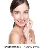 pretty girl touching her face | Shutterstock . vector #430471948