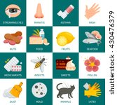 allergy flat square icons set... | Shutterstock .eps vector #430476379