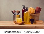 body care products on wooden... | Shutterstock . vector #430493680