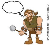 cartoon barbarian with thought... | Shutterstock .eps vector #430495810