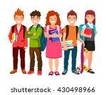 funny group of schoolchildren... | Shutterstock .eps vector #430498966