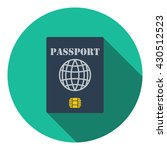 passport with chip icon. flat...
