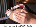pregnant woman putting... | Shutterstock . vector #430512604