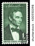 Small photo of London, UK, February 5 2011 - Vintage 1958 United States of America cancelled postage stamp showing an engraved portrait of Abraham Lincoln