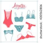 lace lingerie set. vector... | Shutterstock .eps vector #430562806