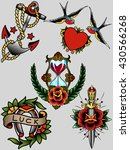 traditional tattoo sketches set ... | Shutterstock .eps vector #430566268