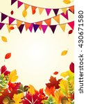 autumn leaves background with... | Shutterstock .eps vector #430671580