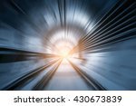 Subway Tunnel With Blurred...