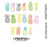 summer print with pineapple | Shutterstock .eps vector #430674604
