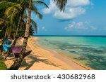 tropical beach with hammock on... | Shutterstock . vector #430682968