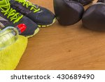 boxing gloves  a towel and... | Shutterstock . vector #430689490