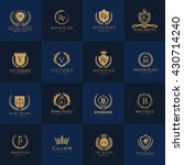luxury logo set with heraldic... | Shutterstock .eps vector #430714240