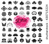 set of fifty floral icons  big... | Shutterstock .eps vector #430715224