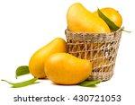 Ripe Mangoes Fruit In Basket...