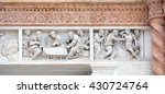 Small photo of BOLOGNA, ITALY - JUNE 04: Supper at Emmaus left and Doubting Thomas right by Zaccaria da Volterra, door of San Petronio Basilica in Bologna, Italy, on June 04, 2015