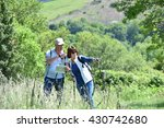 senior couple on a hiking day... | Shutterstock . vector #430742680