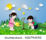 child pouring water on the...   Shutterstock .eps vector #430794550