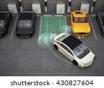 white electric car driving into ... | Shutterstock . vector #430827604