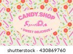 candy seamless pattern with logo | Shutterstock .eps vector #430869760