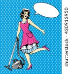 woman vacuuming floor in house. ... | Shutterstock .eps vector #430913950