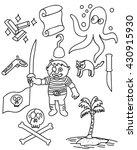children pirate doodle vector... | Shutterstock .eps vector #430915930