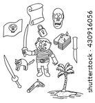 children pirate doodle vector... | Shutterstock .eps vector #430916056