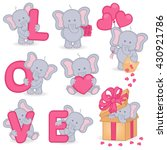 Stock vector collection of cute valentine elephant vector illustration eps 430921786