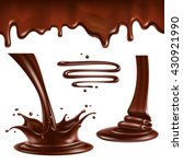 liquid chocolate. splashes and... | Shutterstock .eps vector #430921990