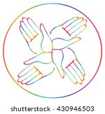 minimal hands together rainbow...   Shutterstock .eps vector #430946503