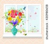 Glass Vase With Arrangement Of...