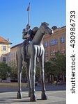 Small photo of BRNO, CZECH REPUBLIC - NOVEMBER 1, 2015: statue of rider on horse with disproportionate legs in Brno, Czech