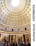 Small photo of ITALY. ROME - APRIL 19, 2016: Tourists in the Pantheon - a monument-centric architecture of the dome, built in the year 126 BC. e. under the Emperor Hadrian.