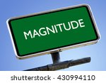 Magnitude Word On Road Sign...