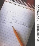hangman game on a notepad with... | Shutterstock . vector #430996720
