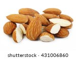 raw almonds nuts isolated on... | Shutterstock . vector #431006860