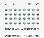 set of  alien icon vector...